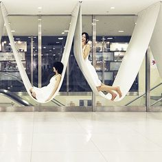 Indoor Hammock, Hanging Hammock Chair, Outdoor Lounge Chair Cushions, Hanging Chairs, Hammock Stand, Architecture Restaurant, Public Seating, Relax, Indoor Playground