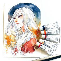 Watercolor Girl, Watercolor Drawing, Watercolor Paintings, Watercolours, Beautiful Artwork, Cool Artwork, Cartoon Drawings, Cute Drawings, Illusion