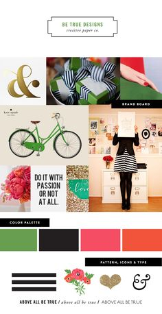 branding 101: create a mood board of things that inspire you. pick colors, patterns, icons, and fonts that pair well together. be cohesive, clear, and consistent! remember, less is more!