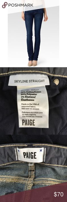 • Paige skyline straight jeans • Classic Rise Straight. One of our most popular fits, these straight-leg jeans are a classic mid-rise that sit slightly higher on the hips. Try them with a broken-in tee for day or, perhaps, a silk tank and statement jewels at night. Inseam approximately 29 inches. Waist approximately 16 inches across. In excellent condition. Paige Jeans Jeans Straight Leg