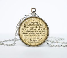 Emily Dickinson poems necklace quotes pendant Victorian England jewelry