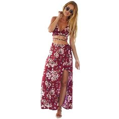 Floral Maxi Skirt with Thigh Split (19 AUD) ❤ liked on Polyvore featuring skirts, bohemian skirts, high waisted floral skirt, maxi skirts, long floral skirts and floral maxi skirt