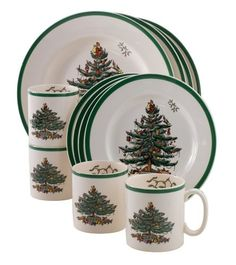 Spode Christmas Tree Dinnerware Set - One of my favorite holiday patterns for tableware is the ever popular Spode Christmas Tree. There are many coordinating pieces that can be added to this festive set that costs under $100 and will last for years to come!