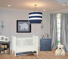 Boy or girl, love the grey and blue nursery. Baby Nursery.