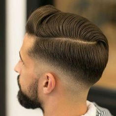 Comb Over with Hard Part and Mid Fade