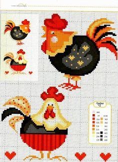 chicken cross stitch Galinha - ponto Cruz. For Nicole's kitchen