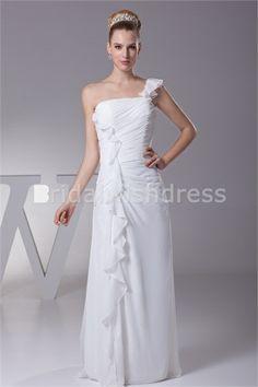 Natural Column Zipper-back Wedding Dress #chiffon wedding dress #summer wedding dress