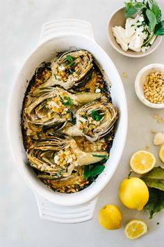 lemon feta roasted artichokes with breadcrumbs pine nuts and mint