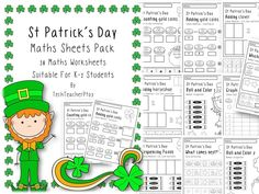 St Patrick's Day Maths Sheets - available in both UK and US spelling variations