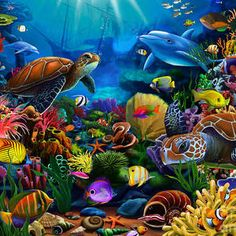 Ceaco 1500 piece jigsaw puzzle featuring marine animals, turtles, fish, dolphins surrounded by coral reef Sea Life Art, Sea Art, Fine Art Amerika, Dolphin Art, Underwater Painting, Turtle Painting, Canvas Art, Canvas Prints, Sea World