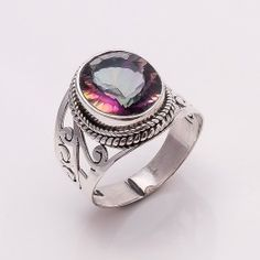 925 SOLID STERLING FINE SILVER  RAINBOW FIRE TOPAZ RING