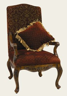 Arm Chair with Matching Pillow in Medium Brown