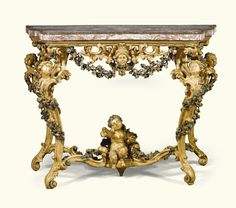 Italian brèche violette veneered marble topped carved giltwood and polychrome laquered console table, Roman, mid 18th century with a serpentine veneered marble top within a gilt-metal border above a frieze centred with a female mask flanked by pierced scrolling foliage, on cabriole legs surmounted by female mask heads and carved with entwined foliage joined by a shaped stretcher with a winged bacchic child satyr.