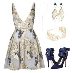 """Summer Twilight Wedding"" by surfacesimplicity on Polyvore featuring Notte by Marchesa, Alice + Olivia, Luis Miguel Howard, Monique Péan and Boohoo"