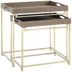 Caracole Rectangular Gold Bullion Side Table