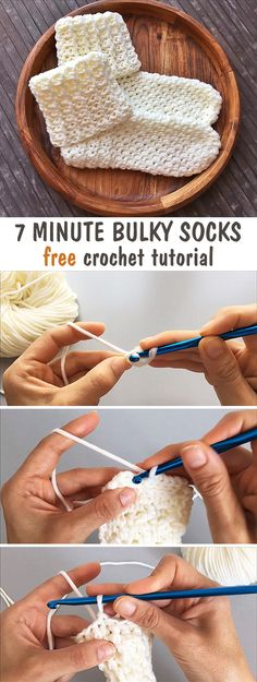 Learn how to crochet these bulky pair of socks.