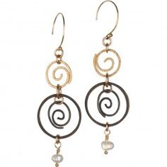 Tracy Arrington E121 GO Earrings available at www.poppyarts.com!  $112 The new look of classic in 14K gold fill, oxidized silver and fresh water pearls.  #classic #tracyarrington #poppymadebyhand
