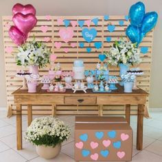 Gender Reveal Themes, Gender Reveal Balloons, Gender Reveal Party Decorations, Baby Gender Reveal Party, Gender Party Ideas, Table Decorations, Fiesta Baby Shower, Shower Bebe, Reveal Parties