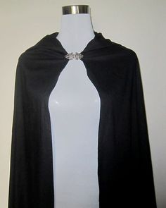 Medieval full lenght Black Coton Cape Hood LARP by gamepresent