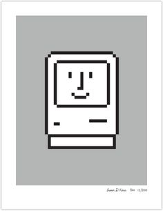 Designed by Susan Kare who is known as the designer of these classic Macintosh icons and other high profile interface designs.