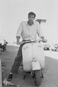 Anthony Perkins on Vespa