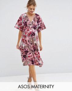 1a563ad560cc7 ASOS Maternity Pink and Gray Iris Soft Midi Swing Dress - Multi Casual  Maternity, Maternity