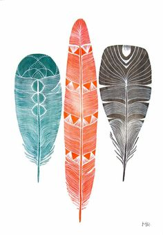 Feather Art Watercolor Painting