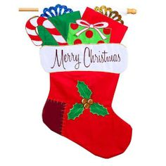 """Evergreen Merry Christmas Stocking Sculpted Regular Flag 28"""" X 44"""" by Evergreen. Save 37 Off!. $24.95. Will fit most standard decorative flag poles and hangers. Appliqued design. All weather polyester. 28"""" X 44"""". The 3D Merry Christmas Stocking Flag is sculpted in the shape of a Christmas stocking full of holiday goodies! This cute Christmas flag features a red Christmas stocking with a white top full of wrapped Christmas presents and a candy cane. The words """"Merry Christmas"""" are on the…"""