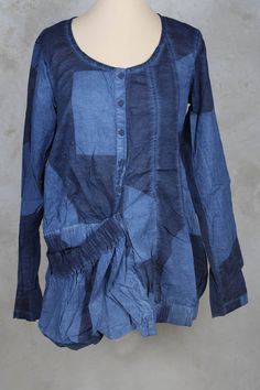 Blouse with Large Pocket in Blueberry Print - Rundholz Black Label