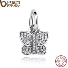 e55211587 Winter Collection 925 Sterling Silver Clear CZ Butterfly Pendant Charms Fit  Bracelet & Necklace DIY Jewelry PAS167