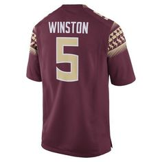 Nike Men's Florida State University Jameis Winston 5 Former Player Football Jersey (Red Dark, Size Medium) - NCAA Licensed Product, NCAA Men's Jers...