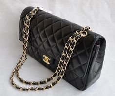 Chanel Classic 2.55 Series Black Lambskin Golden Chain Quilted Flap Bag  http://www.baycitytech.com