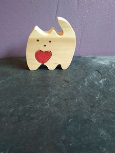 Cute wooden cat with love heart, gift , present, cat lover, romantic, 2 piece jigsaw,ornament, childs gift.