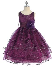 CA_D736PM - Girls Dress Style 736- Organza Sleeveless Dress with Sequin Embroidery - Plum - Flower Girl Dress For Less
