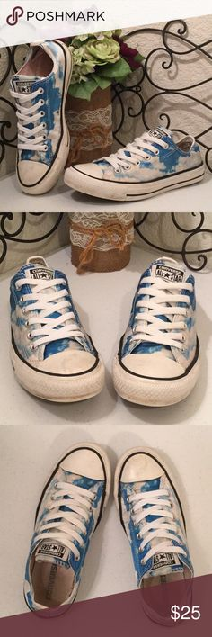 """CONVERSE ALL STAR Heavenly Sky & Clouds Low Tops PRICE IS FIRM LIMITED EDITION blue sky & clouds """"satin"""" Chucks. Black stripes and brand labels. Freshly machine washed and air dried Side soles and interior are stained but clean, interior torn at heels. They've been loved but still have lots of life & love to give. Please check out more of the Posh Boutique Outlet! Converse Shoes Sneakers"""