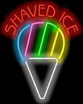 """Shaved Ice Neon Sign by Ice Cream Neon Signs. $229.00. Neon Attracts Immediate Attention!. Brand New, Quality Neon Sign - Delivered to Your Door in a Few Days!. Mounted on a Black Backing for Maximum Visibility!. 24"""" wide x 30"""" high. This Neon Sign features Red Letters with a Multi-Colored Graphic and measures 24 wide x 30 high. Priced lower than ever, this sign can be delivered to you in just a few days!. Save 21%!"""