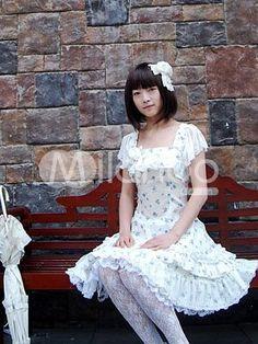 Blue And White Jacquard Cotton Lace Short Sleeve Sweet Lolita Dress