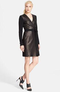 Diane von Furstenberg Leather Wrap Dress available at #Nordstrom