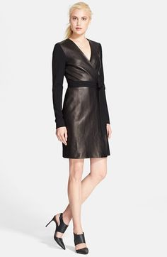 Diane von Furstenberg Leather Wrap Dress available at #Nordstrom