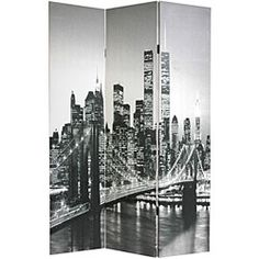 @Overstock - This decorative screen displays beautiful, black and white photos of New York City. Hardy, kiln-dried spruce frames reinforce this decorative accessory, and it works well with a variety of home decor themes.http://www.overstock.com/Worldstock-Fair-Trade/Canvas-New-York-City-Double-sided-Room-Divider-China/3936704/product.html?CID=214117 $120.99