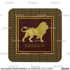 Lion Leather Tweed Gold Earth Tones Coaster