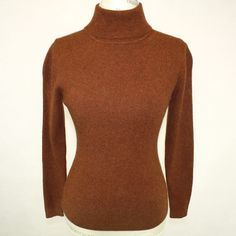 Pcgc 2-Ply 100% Cashmere Sweater Brown Turtleneck Long Sleeves Small  | eBay