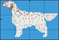 Engelsk Setter Knitting Charts, Knitting Patterns, Crochet Patterns, Cross Stitch Charts, Cross Stitch Patterns, Red And White Setter, Dog Quilts, Dog Crafts, Dog Pattern
