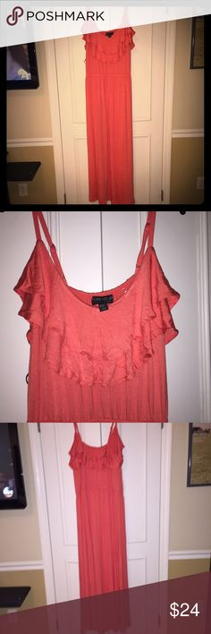 Plus size ruffled maxi dress in coral. Forever 21 plus size ruffled maxi dress in coral. New, never worn with tags and original shipping bag. Purchased online and could not return. Forever 21 Dresses Maxi