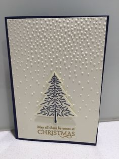 """Stampin' Up! Elegant Christmas card using Softly falling embossing folder with """"Peaceful pines"""" and """"Versatile Christmas"""" stamp sets with coordinating Night of Navy card stock and ink, Vanilla card stock and gold embossing powder. by ivy Stamped Christmas Cards, Homemade Christmas Cards, Christmas Cards To Make, Noel Christmas, Xmas Cards, Homemade Cards, Holiday Cards, Elegant Christmas, Christmas Ideas"""