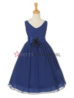 Royal Blue Lovely Soft Georgette Flower Girl Dress