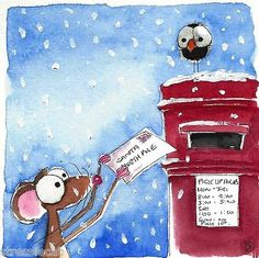 Original Watercolor Painting Mouse Bird Crow Christmas Tree Snow Postbox Letter | eBay