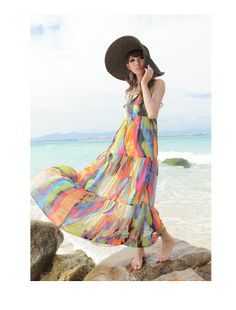 perfect beach outfit =) refreshing color #beachoutfit #summer dress #freshandcool