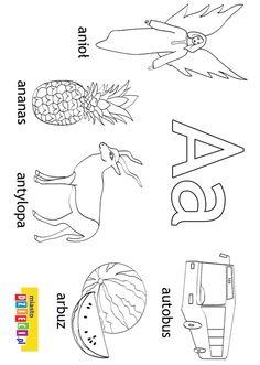 Alfabet - kolorowanki dla dzieci Alphabet, Polish Language, Little Monsters, Montessori, Activities For Kids, Printables, Education, Double Deck Bed, Speech Language Therapy