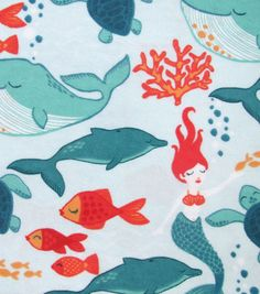 Snuggle Flannel Fabric Mermaids TealSnuggle Flannel Fabric Mermaids Teal,